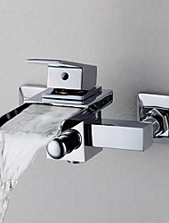 cheap -Bathtub Faucet - Contemporary Chrome Ceramic Valve Bath Shower Mixer Taps / Brass