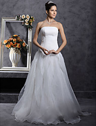 cheap -Princess A-Line Wedding Dresses Strapless Organza Satin Sleeveless with 2020