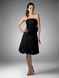 cheap -Princess / A-Line Strapless Knee Length Satin Bridesmaid Dress with Bow(s)