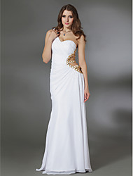 cheap -Sheath / Column Cut Out Open Back Beaded & Sequin Formal Evening Military Ball Dress One Shoulder Sleeveless Floor Length Chiffon with Side Draping 2021
