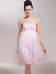 cheap -Clearance!Empire Strapless Knee-length Tulle Over Satin Bridesmaid/Wedding Party Dress
