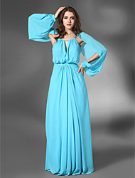 cheap -Sheath / Column 1920s All Celebrity Styles Inspired by Venice Film Festival Formal Evening Military Ball Dress Jewel Neck Long Sleeve Floor Length Chiffon Stretch Satin with Draping 2021
