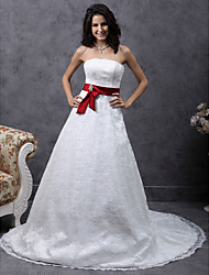 cheap -A-line Sweetheart Court Train Lace Satin Belt Wedding Dress