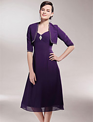 cheap -A-Line Mother of the Bride Dress Wrap Included Spaghetti Strap Tea Length Chiffon Half Sleeve with Beading Side Draping Crystal Brooch 2021