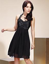cheap -Princess / A-Line Halter Neck Knee Length Chiffon / Stretch Satin Bridesmaid Dress with Bow(s) / Draping