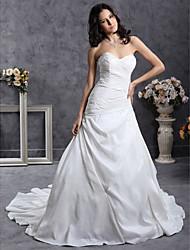 cheap -Princess A-Line Wedding Dresses Sweetheart Neckline Strapless Court Train Satin Taffeta Sleeveless with 2021