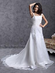 cheap -A-line Straps Court Train Organza Wedding Dress with Beaded Applique