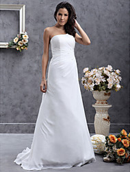 cheap -Princess A-Line Wedding Dresses One Shoulder Sweep / Brush Train Chiffon Satin Sleeveless with 2020