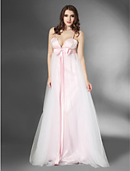cheap -Ball Gown Open Back Prom Formal Evening Military Ball Dress V Neck Spaghetti Strap Sleeveless Floor Length Tulle Stretch Satin with Bow(s) Beading 2021