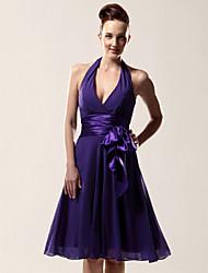 cheap -Clearance!A-line Halter V-neck Knee-length Chiffon Matte Satin Bridesmaid/ Wedding Party Dress