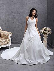 cheap -Princess A-Line Wedding Dresses Halter Neck V Neck Chapel Train Satin Taffeta Sleeveless with 2021