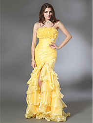 cheap -Mermaid / Trumpet Open Back Prom Formal Evening Military Ball Dress Strapless Sleeveless Floor Length Organza Taffeta with Ruffles Side Draping Split Front 2021