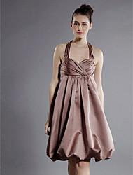 cheap -Princess / A-Line Halter Neck / Sweetheart Neckline Knee Length Satin Bridesmaid Dress with Criss Cross / Draping