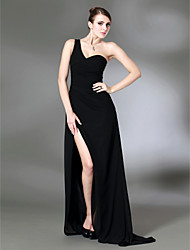 cheap -Sheath / Column Celebrity Style Inspired by Golden Globe Formal Evening Military Ball Dress One Shoulder Sleeveless Sweep / Brush Train Chiffon Stretch Satin with Side Draping Split Front 2021