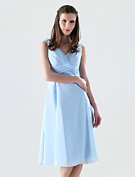 cheap -Ball Gown V Neck Knee Length Chiffon Dress with Criss Cross by