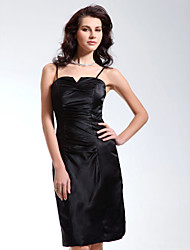 cheap -Sheath / Column Little Black Dress Homecoming Cocktail Party Dress Spaghetti Strap Sleeveless Knee Length Charmeuse with Ruched 2021