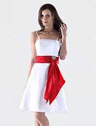 cheap -A-Line Spaghetti Strap Knee Length Satin Bridesmaid Dress with Sash / Ribbon / Crystal Brooch by LAN TING BRIDE®
