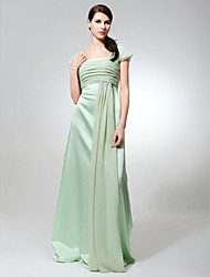 cheap -Sheath / Column Square Neck Floor Length Chiffon / Satin Bridesmaid Dress with Ruched / Beading