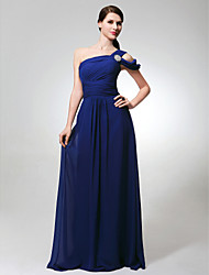 cheap -A-Line One Shoulder Floor Length Chiffon Bridesmaid Dress with Ruched / Side Draping / Crystal Brooch