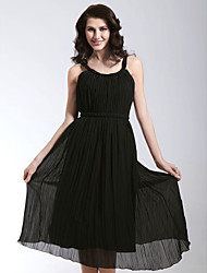 cheap -A-Line Homecoming Cocktail Party Wedding Party Dress Straps Sleeveless Tea Length Chiffon Matte Satin with Sash / Ribbon Pleats Draping 2021