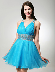 cheap -A-Line Holiday Cocktail Party Prom Dress Straps V Neck Sleeveless Short / Mini Organza Satin with Criss Cross Beading 2021