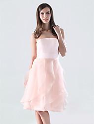 cheap -A-Line Strapless Knee Length Organza / Satin Dress with Cascading Ruffles / Ruffles by