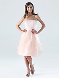 cheap -A-Line Strapless Knee Length Organza / Satin Bridesmaid Dress with Ruffles / Cascading Ruffles / Open Back