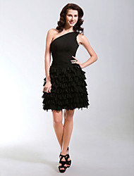 cheap -Ball Gown Little Black Dress Cocktail Party Prom Dress One Shoulder Sleeveless Short / Mini Chiffon with Side Draping 2020