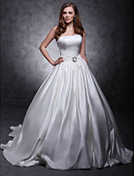 cheap -Princess Wedding Dresses Strapless Chapel Train Satin Sleeveless with Sash / Ribbon Button Crystal Floral Pin 2020