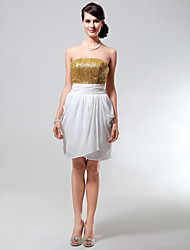 cheap -Sheath / Column All Celebrity Styles Inspired by Taylor Swift Sparkle & Shine Homecoming Graduation Cocktail Party Dress Strapless Sleeveless Short / Mini Chiffon Sequined with Ruched Sequin 2021