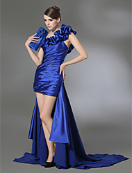 cheap -Sheath / Column High Low Prom Formal Evening Dress One Shoulder Sleeveless Court Train Chiffon Stretch Satin with Ruffles Draping Side Draping 2020