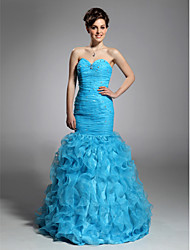 cheap -Mermaid / Trumpet Open Back Quinceanera Prom Formal Evening Dress Sweetheart Neckline Strapless Sleeveless Floor Length Organza with Ruched Beading Cascading Ruffles 2021