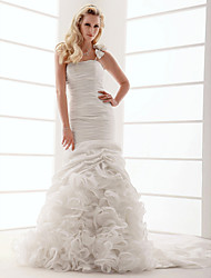 cheap -Fit & Flare Wedding Dresses One Shoulder Court Train Taffeta Strapless with Flower Cascading Ruffle 2021