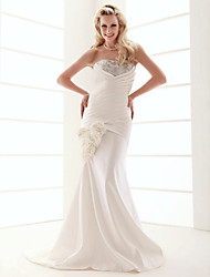 cheap -Mermaid / Trumpet Wedding Dresses Strapless Sweep / Brush Train Satin Sleeveless Wedding Dress in Color with 2021