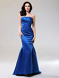 cheap -Mermaid / Trumpet All Celebrity Styles Formal Evening Military Ball Dress Strapless Sleeveless Floor Length Satin with Draping 2020