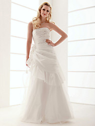 cheap -A-line Floor-length Strapless Tulle Wedding Dress with 3D Flower