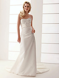 cheap -Sheath/Column Sweetheart Court Train Satin Wedding Dress
