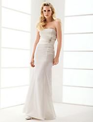cheap -Trumpet/Mermaid Strapless Floor-length Elastic Woven Satin Wedding Dress