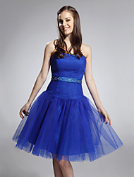 cheap -Ball Gown Holiday Homecoming Cocktail Party Dress Strapless Sleeveless Knee Length Satin Tulle with Ruched Beading 2021