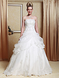 cheap -Princess A-Line Wedding Dresses Strapless Floor Length Organza Satin Sleeveless Sparkle & Shine with Pick Up Skirt Beading Appliques 2021