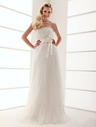 cheap -Sheath / Column Wedding Dresses Strapless Floor Length Organza Sleeveless with 2021
