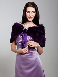 cheap -Sleeveless Feather / Fur Party Evening Wedding  Wraps / Fur Wraps With Bowknot Shrugs