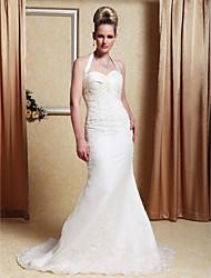 cheap -Trumpet/Mermaid Halter Sweep/Brush Train Satin Organza Wedding Dress