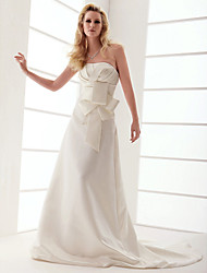 cheap -A-line Strapless Court Train Taffeta Wedding Dress