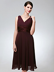 cheap -A-Line Wedding Party Dress V Neck Sleeveless Knee Length Chiffon with Ruched 2021