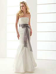 cheap -Mermaid / Trumpet Wedding Dresses Strapless Floor Length Taffeta Sleeveless Wedding Dress in Color with 2021