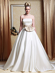 cheap -Princess A-Line Wedding Dresses Strapless Chapel Train Satin Strapless Wedding Dress in Color with Bowknot Sash / Ribbon Side-Draped 2020