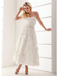 cheap -A-Line Wedding Dresses Sweetheart Neckline Ankle Length Organza Floral Lace Strapless Formal Casual Illusion Detail with Beading Appliques Criss-Cross 2020