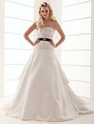 cheap -Princess A-Line Wedding Dresses Strapless Scalloped-Edge Floor Length Taffeta Sleeveless Wedding Dress in Color with 2021
