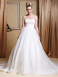 cheap -A-line Strapless Chapel Train Organza Wedding Gown